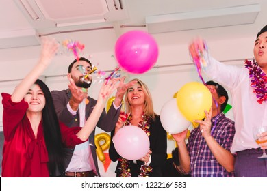 Company Employees of a party to celebrate the New Year and a DJ at parties. Concept Happy New Year.