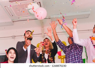 Company Employees of a party to celebrate the New Year 2019 and a DJ at parties. Concept Happy New Year.