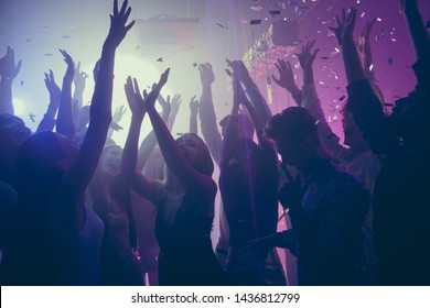 Company of nice attractive lovely stylish cheerful cheery positive carefree guys ladies meeting gathering having fun vacation hanging out best summer event festive at new cool modern place indoors