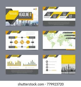 Company presentation templates set on grey background flat isolated  illustration