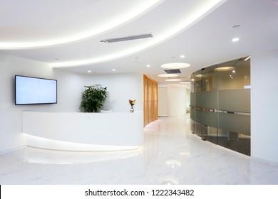 Company reception desk, space indoor photography