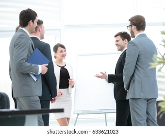 company's management is discussing with the business team, their