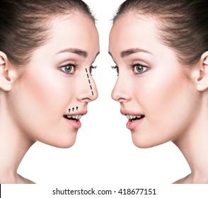 Comparative portrait of female face