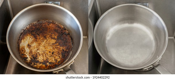 Compare burnt pan image before and after cleaning the unclean able stained pot from burnt cooking pot. The dirty stainless steel pan with the clean pan clean shiny bright like new in the kitchen sink.