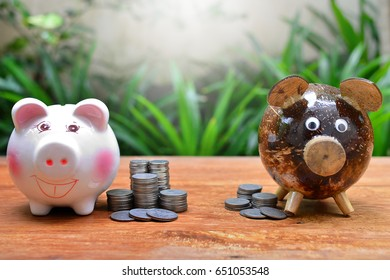 compare coins saving concept business and finance
