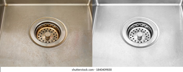 Compare image before - after cleaning with special detergent of the dirty stainless sink in a cafe that been using a long time with coffee wasted. Brown color from the coffee stain on a stainless sink