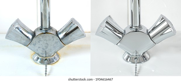 Compare image before- after cleaning with special detergent of the dirty stainless faucet cover with dirty hard calcium water stain in the bathroom. Old dirty faucet with clean and shiny like new.