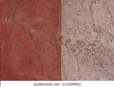 Comparing two types of herry plaster textured background. Abstact brown stucco. Texture of plaster on the wall.