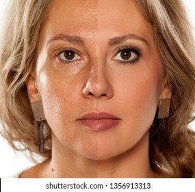 Comparision portrait of middle-aged woman without, and with makeup
