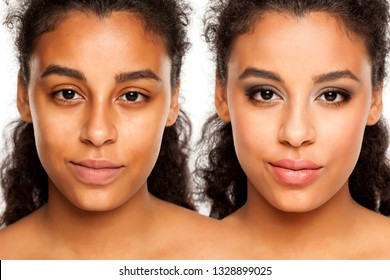 Comparision portrait of young dark-skinned woman without, and with makeup on a white background