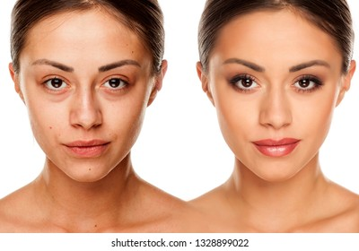 Comparision portrait of young woman without, and with makeup on a white background