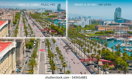 Comparison 3840x2160 4K Ultra HD with 1920x1080 Full HD. Barcelona city, Spain.