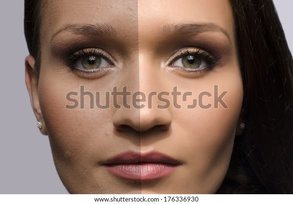 Comparison of a beautiful woman before and after retouching with photoshop, aging versus young, beauty treatment