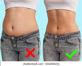 comparison before and after. fat and thin belly. front view, blue background