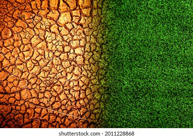 Comparison between the broken land that was dry due to drought and the beautiful grass. drought concept - Shutterstock ID 2011228868