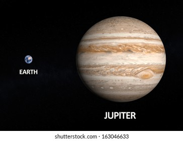 A comparison between the planets Earth and Jupiter on a starry background with english captions.