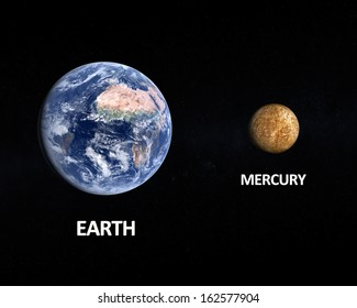 A comparison between the Planets Earth and Mercury on a slightly starry background with english captions.