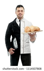 Comparison of businessman and chef's outlook. Businessman wearing classic suit with white shirt, black tie, keeping black folder. Chef wearing chef's tunic, holing plate with fresh baked croissants.