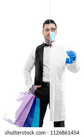 Comparison of chemist and university graduate's outlook. Chemist wearing chemise gown, protective mask, gloves, keeping beaker. Attractive concierge wearing white shirt, classic suit, keeping bags.