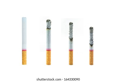 The comparison of cigarette burnt down