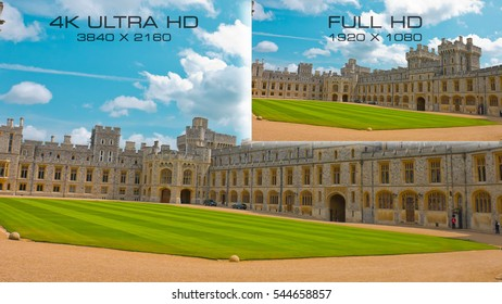 Comparison digital television standards 3840x2160 4K Ultra HD vs Full HD 1920x1080