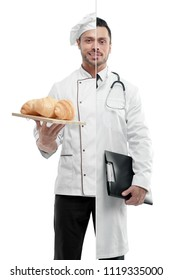 Comparison of doctor and chef's outlook. Chef wearing white chef's tunic, holing plate with fresh baked croissants. Doctor wearing white medical gown, having tonometer, keeping disease history.