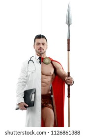 Comparison of doctor and Spartan warrior's outlook. Doctor wearing white medical gown, having tonometer, keeping disease history. Ancient Spartan warrior wearing red cape and holding a matallic sword.