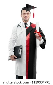 Comparison of doctor and university graduate's outlook. Doctor wearing white medical gown, having tonometer, keeping disease history. Student wearing black and red graduation gown, keeping diploma.