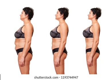 Comparison of female body with and without overweight. Skin problem, body care, overweight and dieting concept. body care, healthy diet and weight loss  - Image