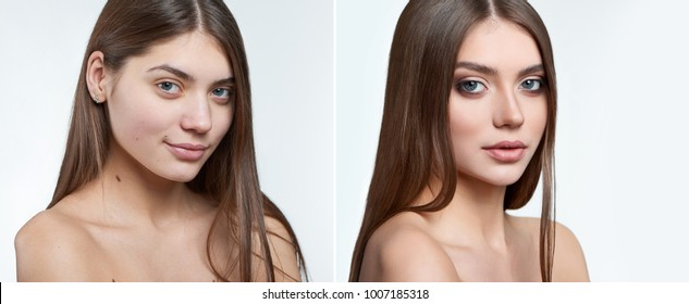 Comparison fullface half profile type of portrait of beautiful brunette green-eyed girl without makeup and with makeup on, including lipstick, mascara and eyshadows. Photoshopped, retouched.