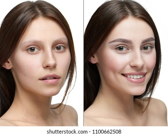 Comparison of a girl with make up and without make up. Two similiar photo. Smiling model with make up on the right side and girl looking at camera without make up - on the right. Great difference.