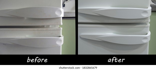 Comparison of handles from the refrigerator before and after cleaning. The result of using a chemical household cleaning agent.