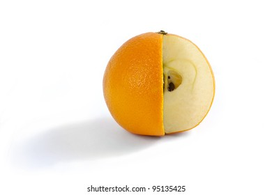 A comparison of oranges and apples when the fruit has a bit of both. Photo Manipulation showing an orange on white with a wedge cut out and the flesh of an apple inside.