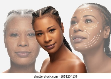 Comparison. Portrait of beautiful african woman with problem and clean skin, aging and youth concept, beauty treatment and lifting. Before and after. Youth, old age. Process of aging and rejuvenation