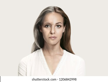 Comparison. Portrait of beautiful woman with problem and clean skin, aging and youth concept, beauty treatment and lifting. Before and after concept. Youth, old age. Process of aging and rejuvenation