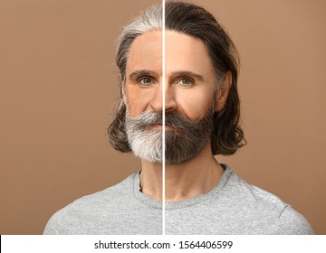 Comparison portrait of man on color background. Process of aging