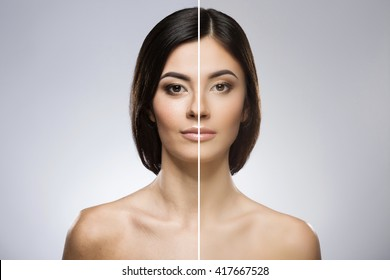 Comparison portrait of a model without and with professional contour and highlight face makeup. Divided face without improving and with. Beauty portrait, head and shoulders, full face. Indoor, studio