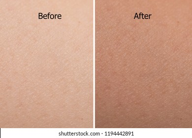 comparison portrait of woman skin color texture after use tan spray