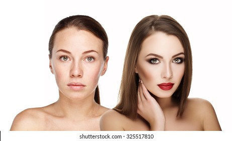 comparison portraits beautiful girl with and without makeup, before and after. left clean face no makeup and right makeup and retouch. Everyday makeup with good young skin of woman. 100% real photo