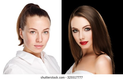 comparison portraits beautiful girl or woman with and without makeup, before and after. left clean face no makeup and right smoky eyes makeup and retouch. 100% real photo