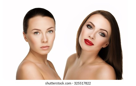 comparison portraits beautiful girl or woman with and without makeup, before and after. left clean face nude makeup and right makeup and retouch. Everyday makeup with good young skin.