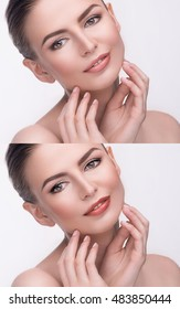 Comparison portraits of beautiful woman with natural and bright evening sexy makeup. Wellness, skincare, make-up concept. Close up, isolated on white