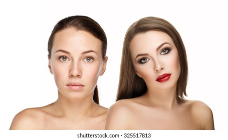comparison portraits beautiful woman with and without makeup, before and after. left clean face no makeup and right makeup and retouch. Everyday makeup with good young skin of girl
