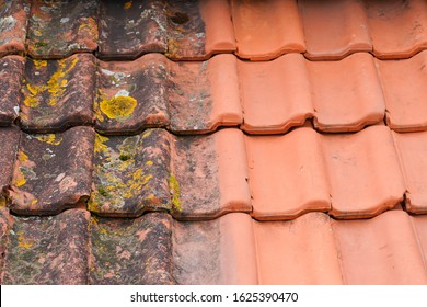 Comparison roof top before and after cleaning moss lichen high pressure water cleaner tile - Shutterstock ID 1625390470