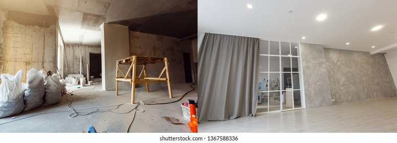 Comparison of a room in an apartment before and after renovation new house