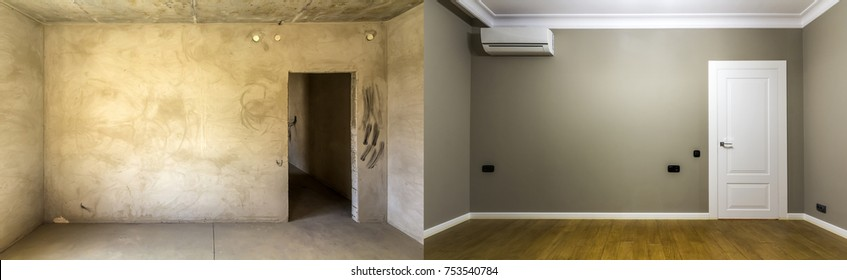 Comparison of a room in an apartment before and after renovation. Interior of new house. Oak wooden floor, grey painted wall and white ceiling.