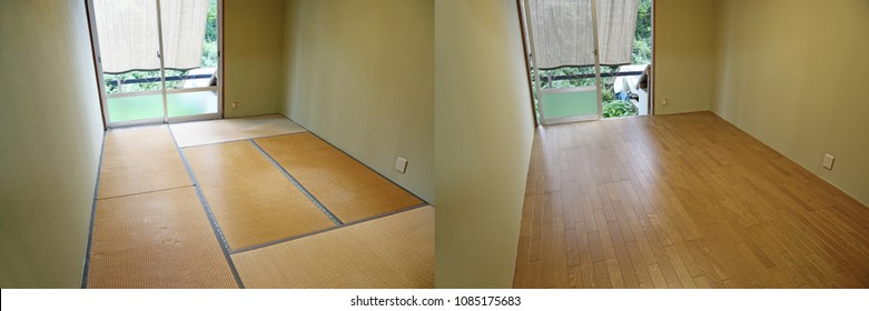 Comparison of a room.Tatami mat and wooden floor.