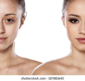 Comparison side by side portrait of a girl without and with makeup