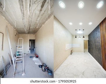 Comparison snapshot of a big beautiful room in a private house before and after reconstruction, messy room with empty grey walls vs new clean shiny interior
