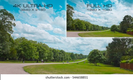 Comparison video standards 4K UHD and Full HD